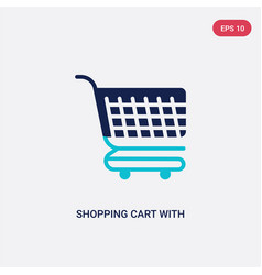 Two color shopping cart with grills icon from vector