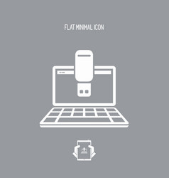 usb on computer - flat minimal icon vector image