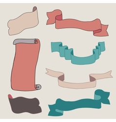 Vintage ribbons collection vector