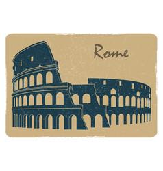 Vintage rome coliseum logo emblem postcard design vector