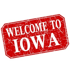 Welcome to Iowa red square grunge stamp vector