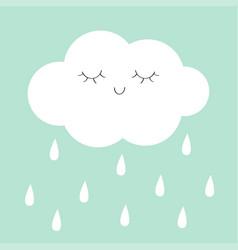 white cloud rain drop icon smiling sleeping face vector image