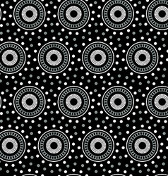 White geometric circle seamless pattern on a black vector image vector image