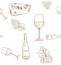 Wine set grapes cheese and wine bottle outline vector