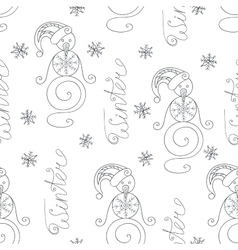 Winter seamless pattern with cute snowman vector image