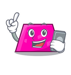 with phone trapezoid character cartoon style vector image