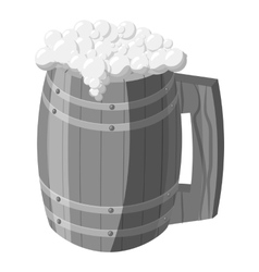 Wooden mug of beer icon gray monochrome style vector image