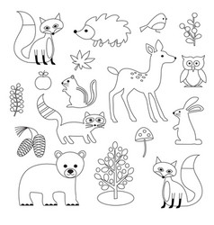 Woodland animal digital stamps vector