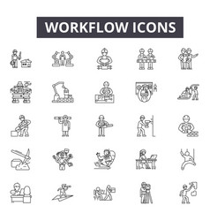 workflow line icons signs set linear vector image