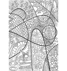 Abstract Line art with doodle and zentagle style vector image