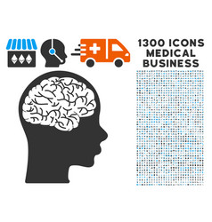 brain icon with 1300 medical business icons vector image