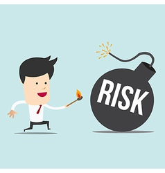 Business man and spark risk bomb vector