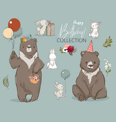 cute birthday hares and bear collection vector image