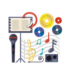 musical concept with microphone amplifier and vector image vector image