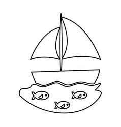 sailboat sea isolated icon vector image