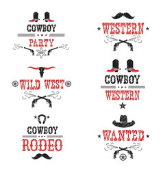 set of cowboy labels and western symbols vector image vector image