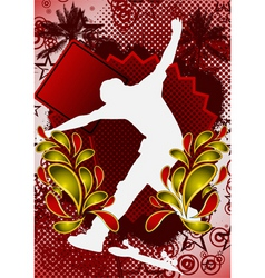 skateboarder summer background vector image vector image