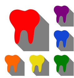 tooth sign set of red orange vector image