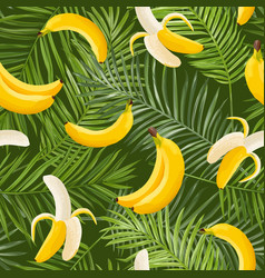 Tropical seamless pattern with bananas and palm vector
