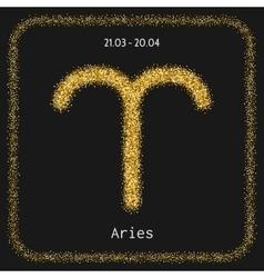 Aries golden zodiac sign icon for horoscopes vector image