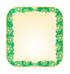 Button square Christmas Spruce and snowflakes vector image vector image