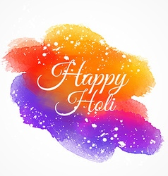 colorful ink stain with happy holi text vector image vector image