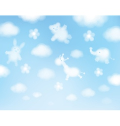 cute sky clouds cartoons vector image vector image