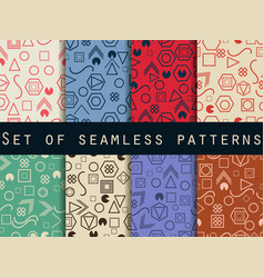 geometric seamless patterns memphis style 80s vector image