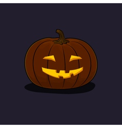 Halloween Grinning Pumpkin on Dark Background vector image