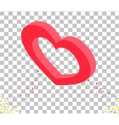Isomitric 3d Heart Valentine Day Design vector image