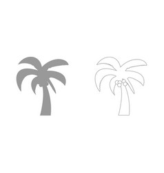 palm the grey set icon vector image