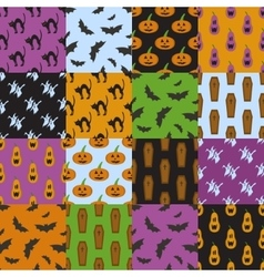 Set of simple patterns for Halloween design vector image vector image