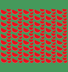 slice of watermelon on a green background vector image vector image