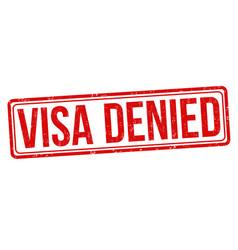 visa denied grunge rubber stamp vector image