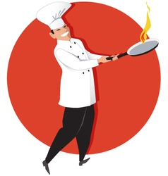 Asian chef cooking vector image vector image