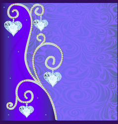 background with ornament with precious stones and vector image vector image