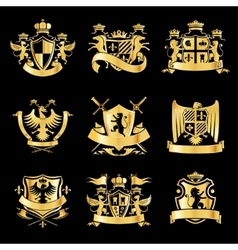 Heraldic golden emblems vector image