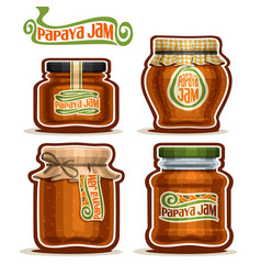 Papaya jam in glass jars vector