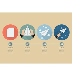 Process of hand folding the rocket paper vector image vector image