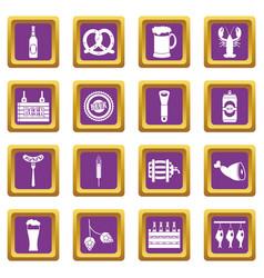 beer icons set purple vector image