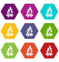 bonfire icon set color hexahedron vector image vector image