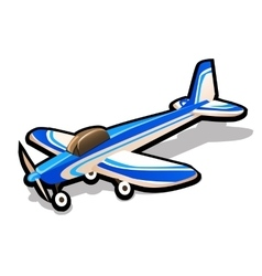 Childrens blue toy airplane on a white background vector image vector image