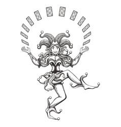 dancing joker girl vector image