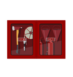 fire hose cabinet on white background vector image