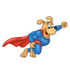 flying muscular dog in super hero suit vector image