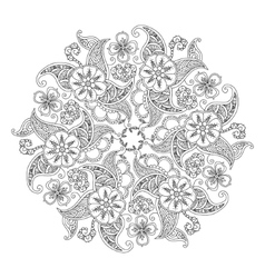 Mandala with flowers and leaves isolated on white vector image