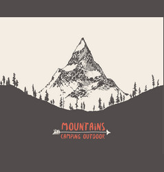 mountain peak pine forest hand drawn vector image vector image