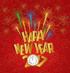 2017 Happy New Year with clock and fireworks vector image