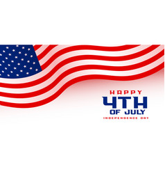 4th july american independence day flag banner vector image