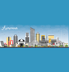Amman jordan skyline with color buildings and vector